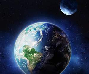 blue, moon, and world image