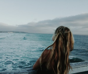 girl, sea, and ocean image