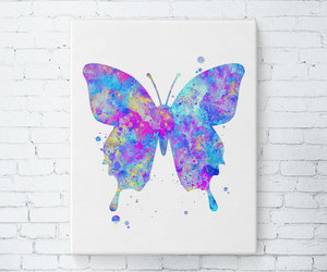 art, watercolor, and butterfly print image