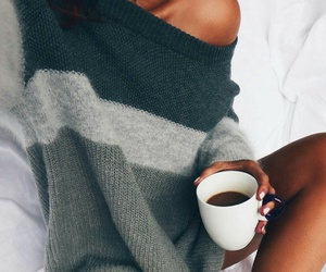 coffee, fashion, and sweater image