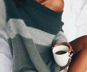 fashion, coffee, and sweater image