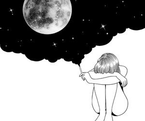 girl, art, and moon image