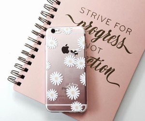 iphone, flowers, and notebook image