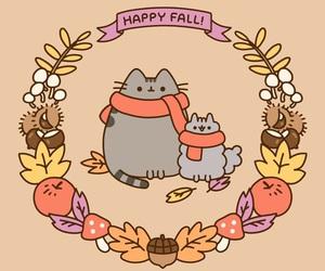 autumn, fall, and pusheen image