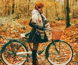 autumn, bicycle, and girl image