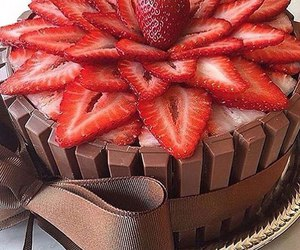cake, strawberry, and chocolate image