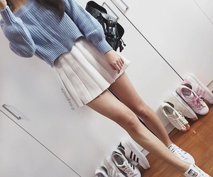 blue, skirt, and white image