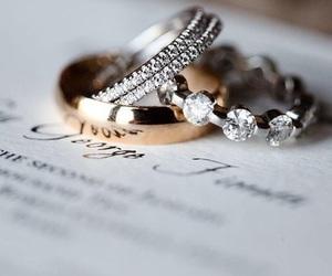 rings, wedding, and diamond image