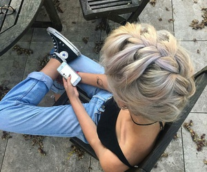 braid, blackshoes, and bluejeans image