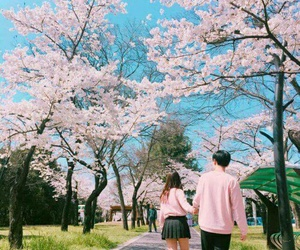 pink, ulzzang, and couple image