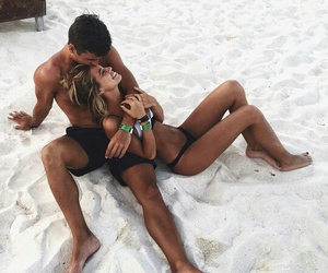 beach, paradise, and couple image