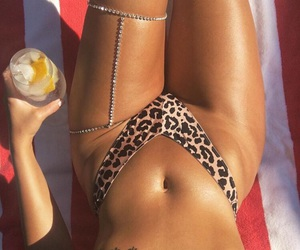 beauty, bikini, and drink image
