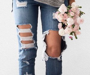 denim, fashion, and flowers image