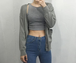 fashion, girl, and grey image