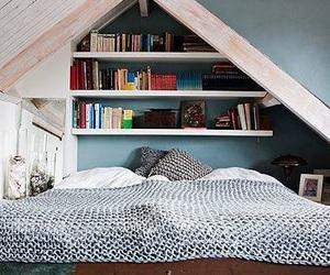 bedroom, bookshelf, and room image