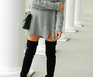 black thigh high boots, black leather purse, and grey turtleneck dress image