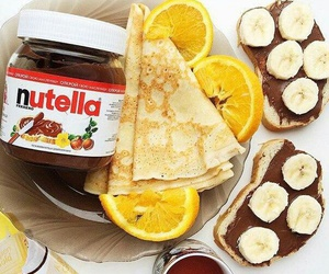 nutella, banana, and pancakes image