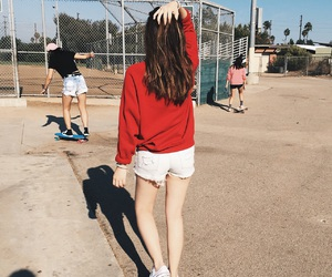 park, long board, and red sweater image