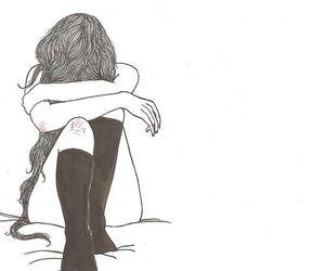 art, illustration, and sadness image