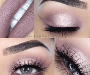eyeshadow, pink, and lipstick image