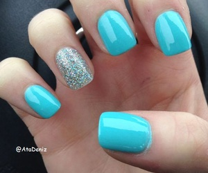 light blue, summer nails, and nails with glitter image