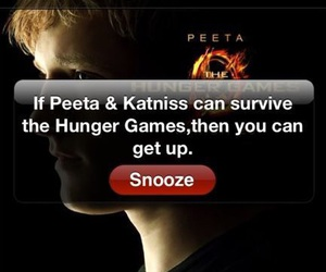 alarm clock, snooze, and hunger games image
