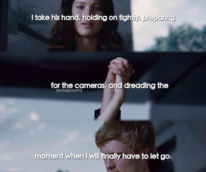 holding hands, the hunger games, and katniss image