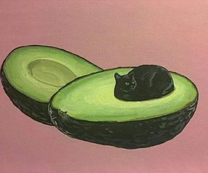 cat, avocado, and art image
