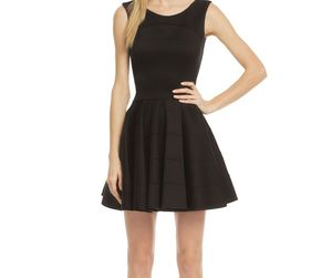 black dress, satin dress, and sleeveless dress image