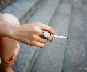 cigarette, smoke, and ring image
