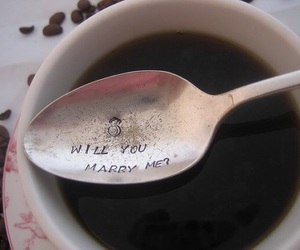 love, coffee, and marry me image