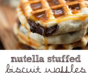 biscuit, nutella, and waffles image