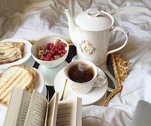 books, FRUiTS, and tea image