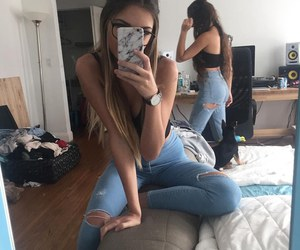 girl, friends, and jeans image