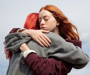 hug, red, and women image