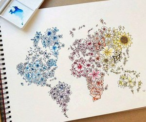 art, flowers, and world image