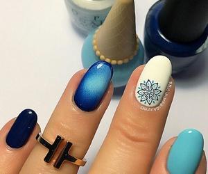 art, nail, and blue image