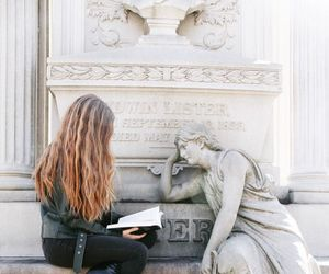 book, reading, and statue image
