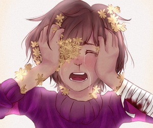 flowers, frisk, and undertale image