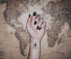 airplane, black, and map image