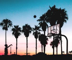 Basketball, sunset, and beach image