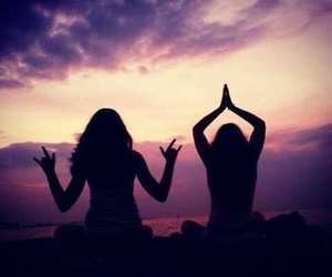 girl, friends, and peace image