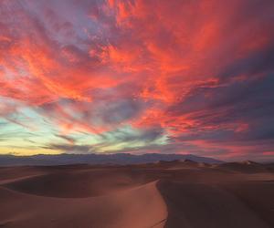 sunset, sky, and desert image