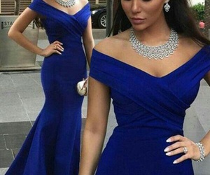 blue, dress, and long image