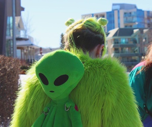 alien, green, and backpack image