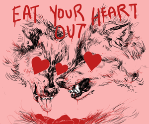 heart, wolf, and dog image
