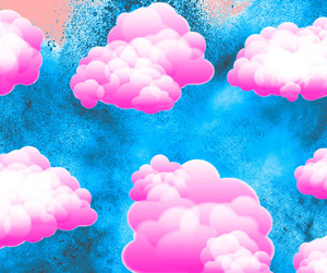 art, clouds, and pink image