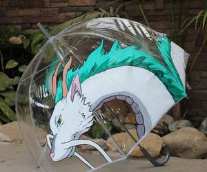 spirited away, umbrella, and haku image