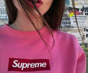 girl, pink, and supreme image