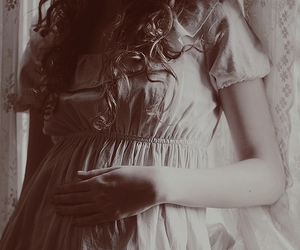 curly hair, girl, and dress image